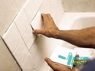 Укладка плитки на стены, ремонт ванной под ключ.