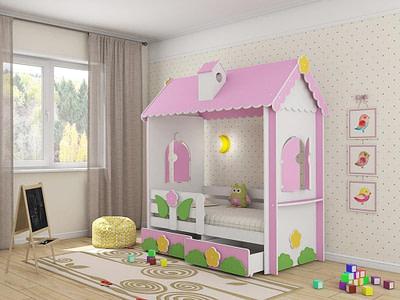Детская мебель кровать домик для детской комнаты