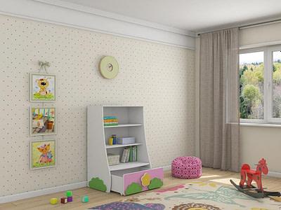 Детская мебель стеллаж Ромашка купить в Ульяновске