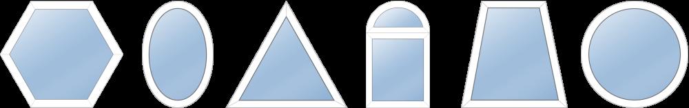 Нестандартные формы для пластиковых окон, треугольные, круглые пластиковые окна под ключ.