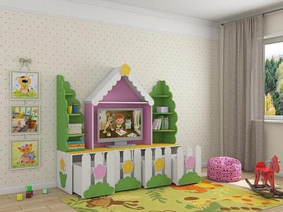 Детская мебель стенка ТВ Ромашка купить в Ульяновске
